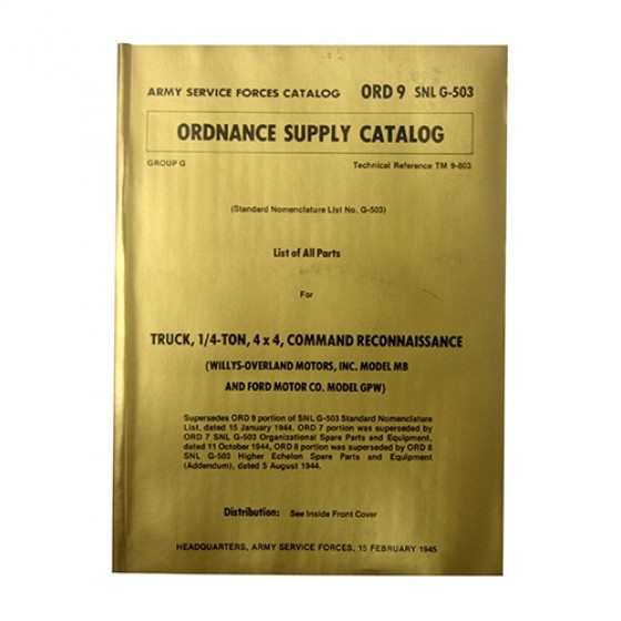 Master Ordnance Supply Manual Fits 41-45 MB, GPW