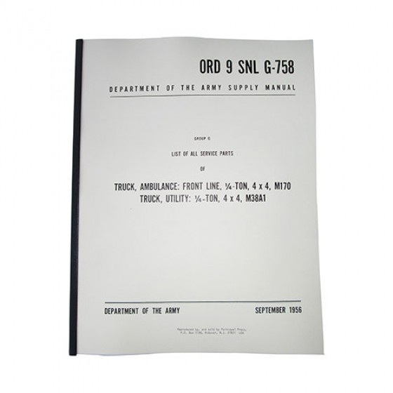 Master Parts List Manual Fits 52-66 M38A1 on