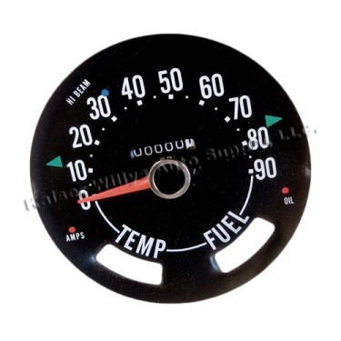 Compete Speedometer Cluster less Gauges 0-90 MPH, 56-64 Willys Truck, Station Wagon