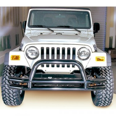 Front Tube Bumper with Riser in Black, 76-86 CJ