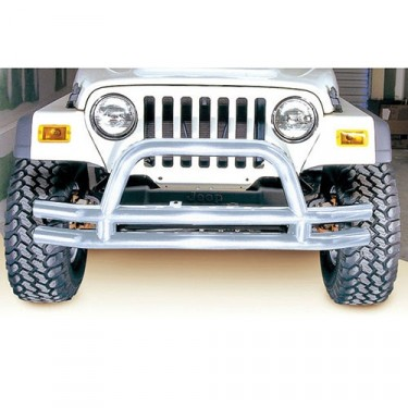 Front Tube Bumper with Riser in Stainless, 76-86 CJ