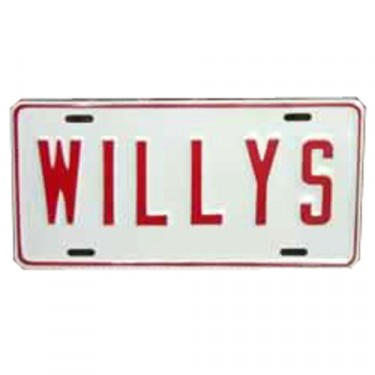 Willys License Plate in Block Script (Red) Fits  41-71 Willys and Jeep