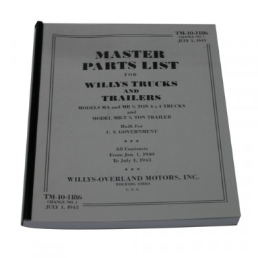 Master Parts List Manual Fits 41-45 MB, GPW