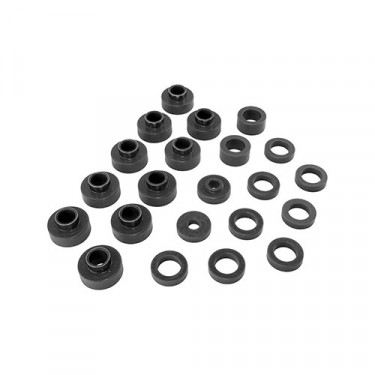Prothane Body Mount Bushing Set in Black, 80-86 CJ-5, CJ-7