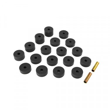 Prothane 18 Piece Body Mount Bushing Set in Black, 72-75 CJ-5