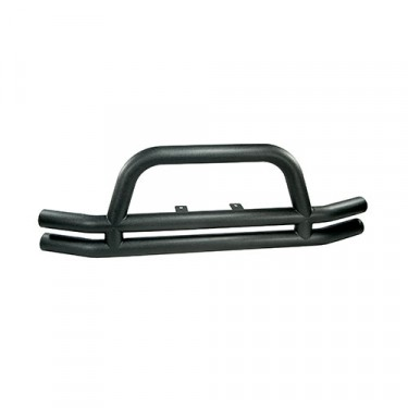 Front Tube Bumper with Riser in Textured Black, 76-86 CJ