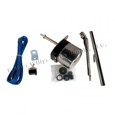 Windshield Wiper Motor Conversion Kit in 12 volt, Stainless, 41-68 MB, GPW, CJ-2A, 3A, 3B, 5, M38, M38A1