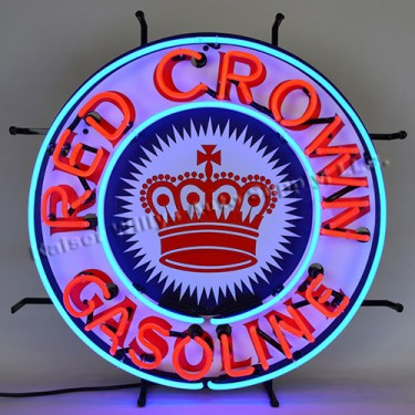 """Neon """"Red Crown Gasoline"""" Wall Sign Fits Willys Accessory"""