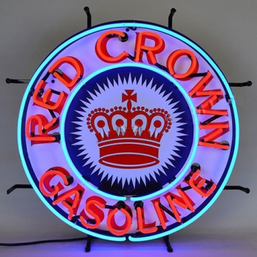 "Neon ""Red Crown Gasoline"" Wall Sign Fits Willys Accessory"