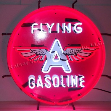 """Neon """"Flying A Gasoline"""" Wall Sign Fits Willys Accessory"""