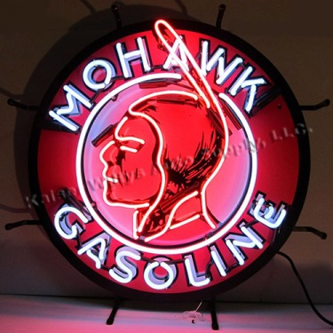 """Neon """"Mohawk Gasoline"""" Wall Sign Fits Willys Accessory"""