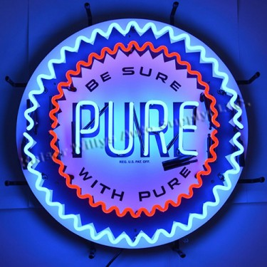 """Neon """"Pure Gasoline"""" Wall Sign Fits Willys Accessory"""