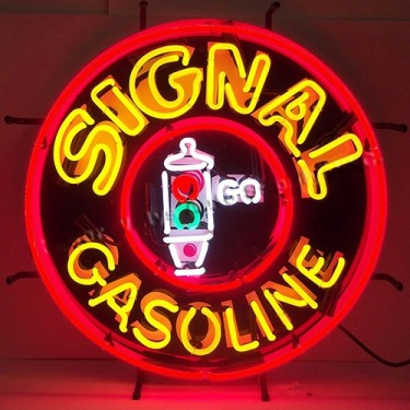 "Neon ""Signal Gasoline"" Wall Sign Fits Willys Accessory"