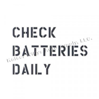 """New Standard 1"""" Check Batteries Dailey Paint Mask Stencil  Fits  41-71 Jeep & Willys (3 Line)"""