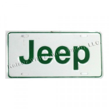 Jeep License Plate in Block Script (Green) Fits  41-71 Willys and Jeep