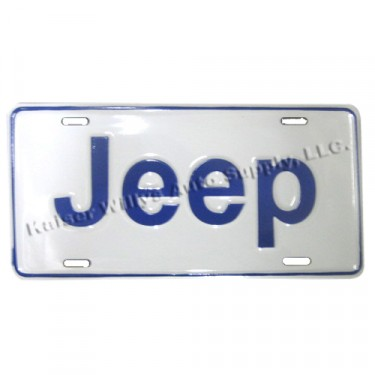 Jeep License Plate, Scripted for Willys Jeep