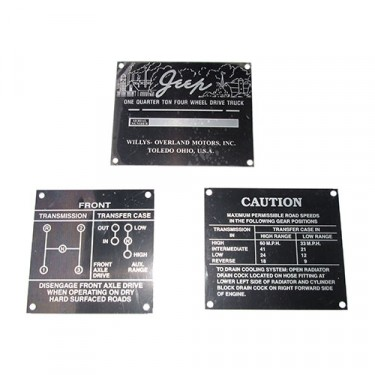 Early Jeep Data Plate Set, Three Piece, 46-47 CJ-2A
