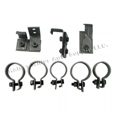 Original Reproduction Exhaust System Clamp & Hanger Kit, 46-64 CJ-2A, 3A, 3B