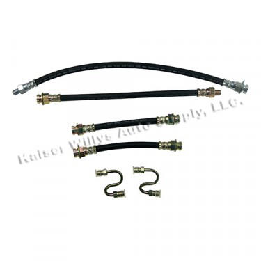 Front & Rear Brake Hose Kit, 41-66 MB, GPW, CJ-2A, 3A, 3B, 5, M38, M38A1