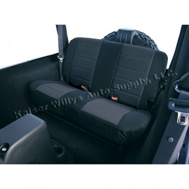 Neoprene Rear Seat Covers in Black, 80-86 CJ