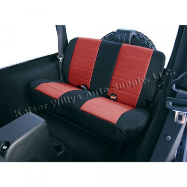 Neoprene Rear Seat Covers in Red, 80-86 CJ