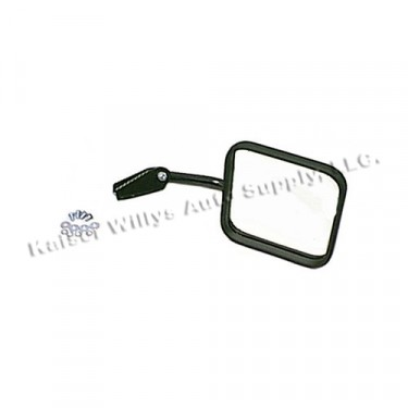 Passenger Side Mirror and Arm with Convex Glass in Black, 76-86 CJ