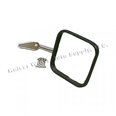 Passenger Side Mirror and Arm with Convex Glass in Stainless, 76-86 CJ