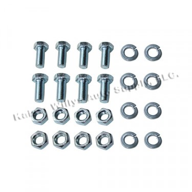 Rubber Axle Bumpers to Frame Hardware Kit, 53-71 CJ-3B, 5, 6