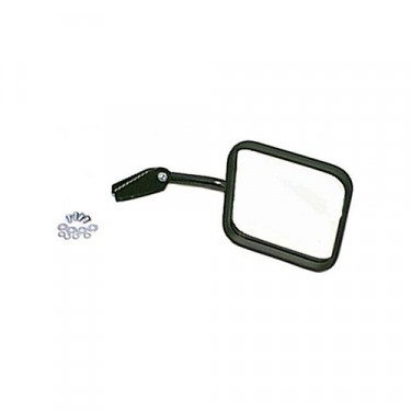 Passenger Side Mirror and Arm in Black, 76-86 CJ