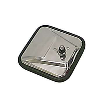 Passenger Side Square Mirror Head with Convex Glass in Stainless, 76-86 CJ
