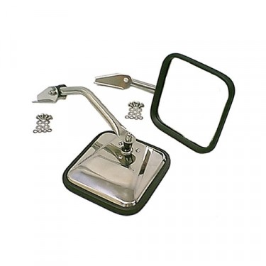 Side Mirrors with Convex Glass in Stainless, 76-86 CJ