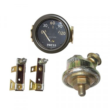 Instrument Panel Oil Pressure Gauge Kit (6, 12 or 24 volt), 41-66 CJ-2A, 3A, 3B, M38, M38A1