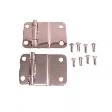 Lower Tailgate Hinges in Stainless, 76-86 CJ