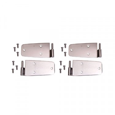 Door Hinge Kit in Stainless, with Full Steel Doors, 76-86 CJ