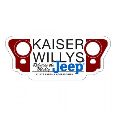 "Kaiser Willys ""Rebuilds the Mighty Jeep"" Bumper Sticker Fits Willys Accessory"