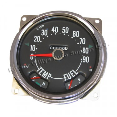 Compete Speedometer Cluster with Gauges 0-90 MPH, 55-71 Willys Jeep CJ