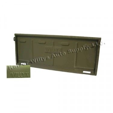 Steel Tailgate with Willys Logo, 46-68 CJ-2A, 3A, 3B, 5