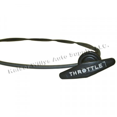 USA Made Hand Lever Throttle Cable Assembly in Olive Drab, 52-66 M38, M38A1