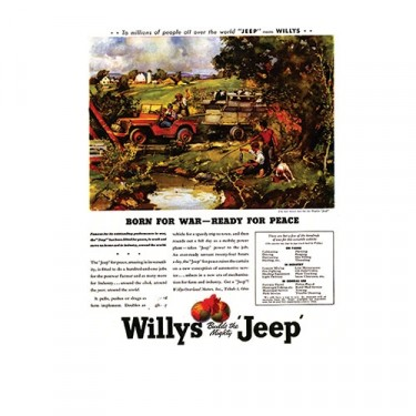 Vintage Willys Ad Born for War - Ready for Peace