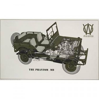 Vintage Willys Poster Phantom MB Jeep Poster