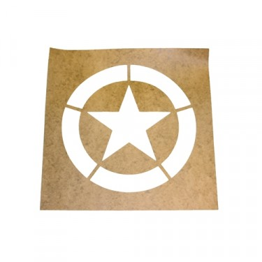 "Paint Stencil w/10"" Diameter Star ""Broken"" Invasion Circle Fits : 41-71 Jeep & Willys"