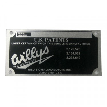 Vin Number Registraion Data Plate, 41-64 Willys & Jeep