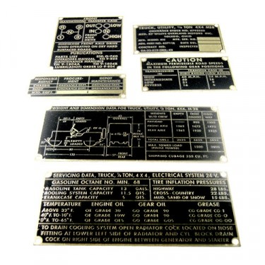 Metal Dash Data Plate Set, 50-52 Willys M38