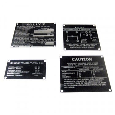 Metal Dash Data Plate Set, 41-45 MB