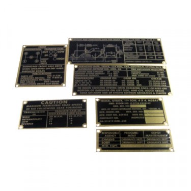 Metal Dash Data Plate Set, 52-66 M38-A1
