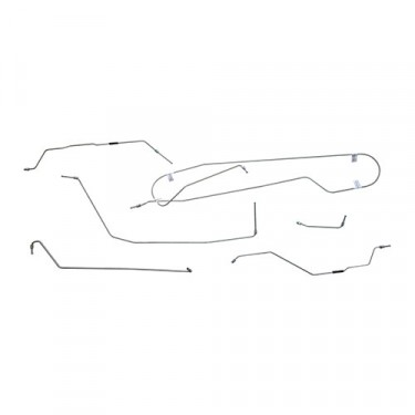 Complete Formed Steel Brake Line Kit, 55-64 CJ-5 with flexible hoses to front wheel cylinders