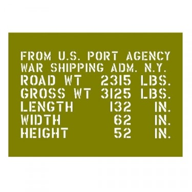 Paint Mask World War II Jeep Shipping Stencil Fits 41-45 MB, GPW