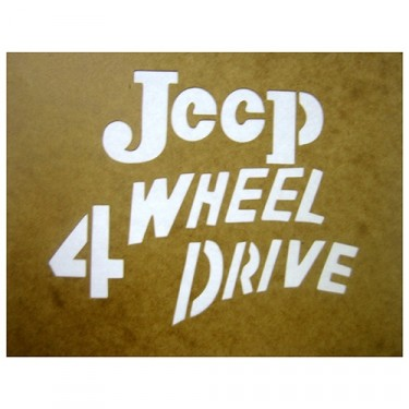 "Paint Stencil Decal ""Jeep 4 Wheel Drive"" Fits 41-72 Jeep & Willys"