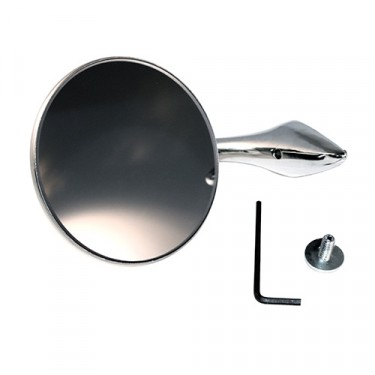 "Chrome Door Mirror Kit with 4"" Round Mirror Fits 48-51 Jeepster"