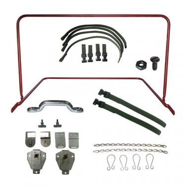 Top Bow Frame Assembly, Bracket & Strap Kit, 52-66 M38A1